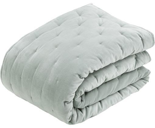 Couvre-lit ouaté en velours avec matelassage décoratif Cheryl, Vert sauge