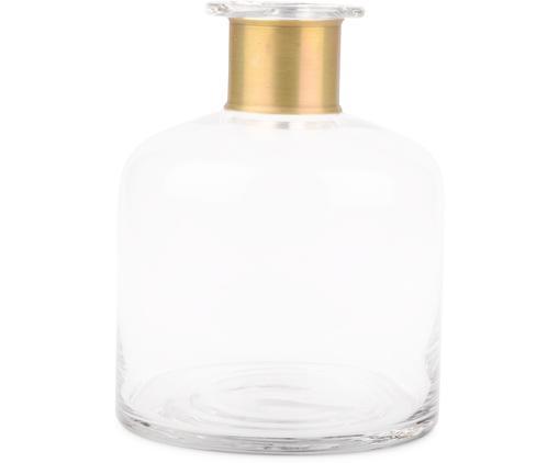 Vaso in vetro Smokey, Vaso: vetro, Decorazione: ottone, Vaso: trasparente Decorazione: ottone, Ø 18 x Alt. 23 cm
