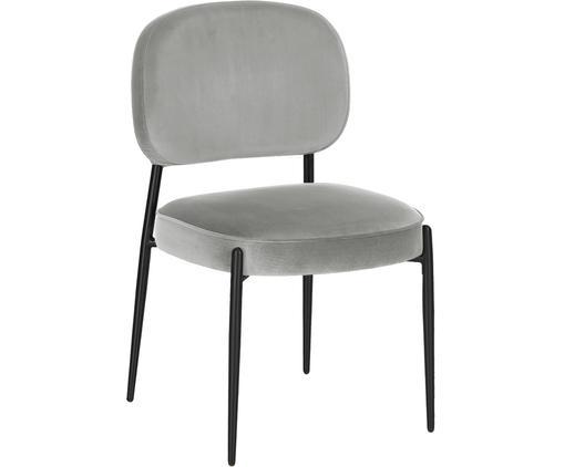 Chaise en velours rembourrée Viggo, Gris