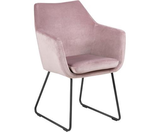 Krzesło z podłokietnikami z aksamitu Nora, Tapicerka: aksamit poliestrowy 2500, Nogi: metal, lakierowany, Blady różowy, S 58 x G 58 cm