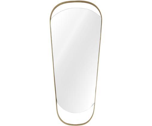 Specchio da parete April, Cornice: metallo nichelato, Superficie dello specchio: lastra di vetro, Retro: pannello di fibra a media, Dorato opaco, Larg. 55 x Alt. 130 cm