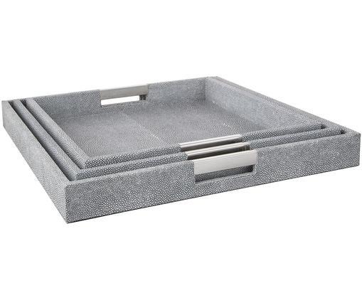 Deko-Tablett-Set Megan, 3-tlg., Tablett: Mitteldichte Holzfaserpla, Außen: Kunstleder, Griffe: Metall, Unterseite: Samtbezug, Dunkelgrau, Sondergrößen