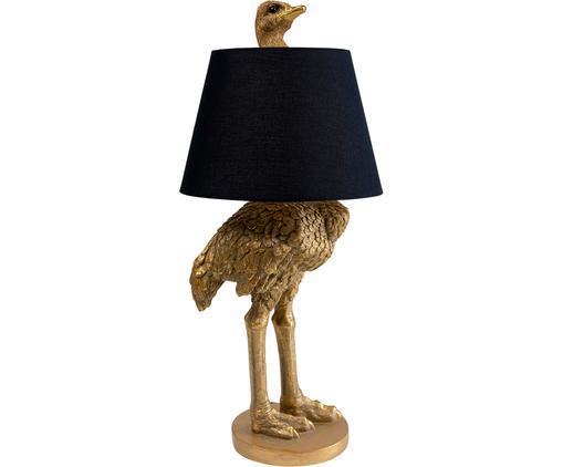 Sehr große handgefertigte Tischleuchte Ostrich, Gestell: Polyresin, Lampenschirm: Baumwolle, Hanf, Messingfarben, Ø 30 x H 69 cm