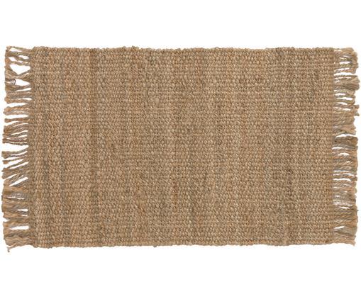 Handgefertigter Jute-Teppich Cadiz mit Fransen, Jute, Jute, B 60 x L 90 cm (Größe XXS)