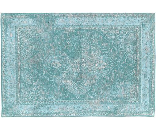 Alfombra de chenilla tejida a mano Palermo, estilo vintage, Parte superior: 95%algodón, 5%poliéster, Reverso: 100%algodón, Turquesa, azul claro, crema, An 120 x L 180 cm (Tamaño S)
