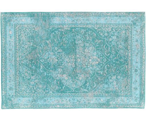 Tappeto in ciniglia tessuto a mano Palermo, Vello: 95% cotone 5% poliestere, Retro: 100% cotone, Turchese, azzurro, crema, Larg. 120 x Lung. 180 cm (taglia S)
