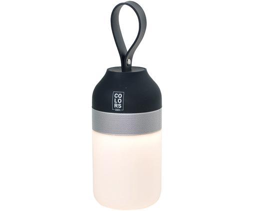 Outdoor LED lamp met luidspreker Colors, Frame: metaal, Lampenkap: kunststof, Zwart, zilverkleurig, wit, Ø 7 x H 26 cm