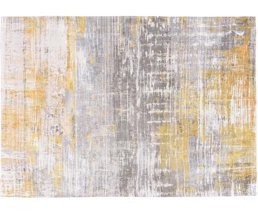 Designteppich Streaks in Grau/Gelb, Vorderseite: 85%Baumwolle, 15%hochgl, Webart: Jacquard, Rückseite: Baumwollgemisch, latexbes, Gelb, Grau, Weiß, B 140 x L 200 cm (Größe S)