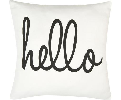 Kissenhülle Hello mit Schriftzug in Schwarz/Weiß, Baumwolle, Panamabindung, Schwarz, Cremeweiß, 40 x 40 cm