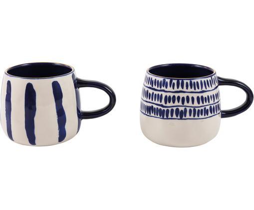 Tazza da caffè Masai, 2 pz., Blu, bianco latte, bordo: dorato
