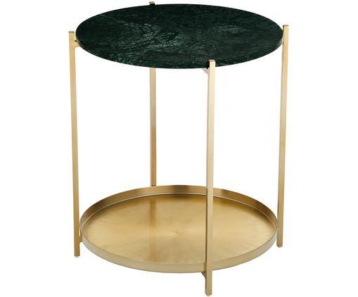 Tavolino in marmo Victoria, Piano d'appoggio: pietra naturale di marmo, Struttura: metallo verniciato a polv, Piano d'appoggio: marmo verde Struttura: dorato opaco, Ø 45 x Alt. 50 cm