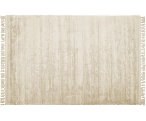Handgewebter Viskoseteppich Aria mit Fransen in Weiß, Flor: 100% Viskose, Elfenbein, B 200 x L 300 cm (Größe L)