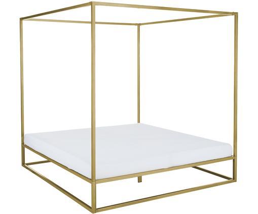 Łóżko z baldachimem Belle, Metal mosiądzowany, Odcienie złotego, matowy, 180 x 200 cm