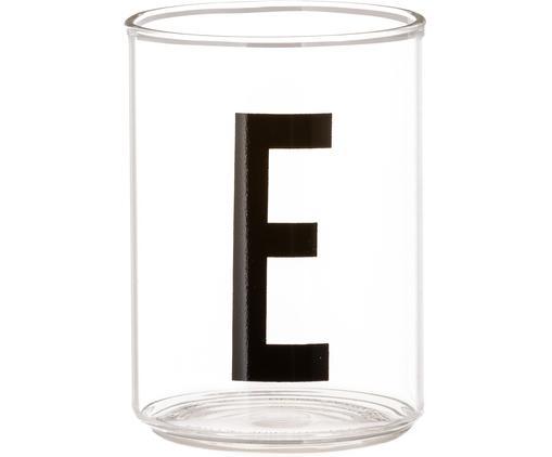 Design Wasserglas Personal mit Buchstaben (Varianten von A bis Z), Borosilikatglas, Transparent, Schwarz, Wasserglas E