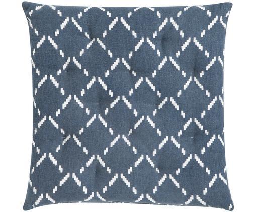 Cojín de asiento Cuba Graphic, Funda: algodón, Azul oscuro, blanco crudo, An 40 x L 40 cm