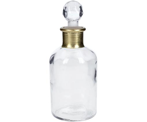 Deko-Flasche Doni, Glas, Transparent, Goldfarben, Ø 7 x H 17 cm