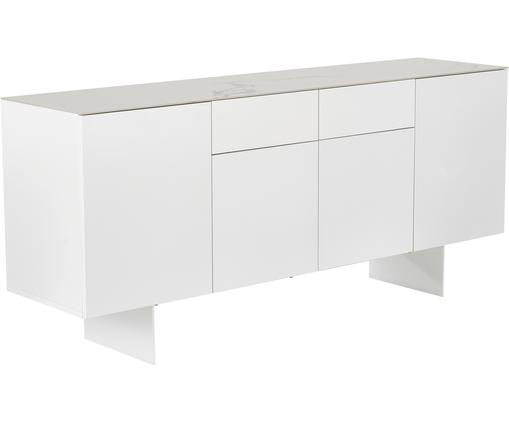 Sideboard Fiona mit Oberfläche in Marmor-Optik, Korpus: Mitteldichte Holzfaserpla, Füße: Metall, pulverbeschichtet, Ablagefläche: Keramik, Korpus: Weiß, mattFüße: Weiß, mattAblagefläche: Weiß, marmoriert, 180 x 80 cm