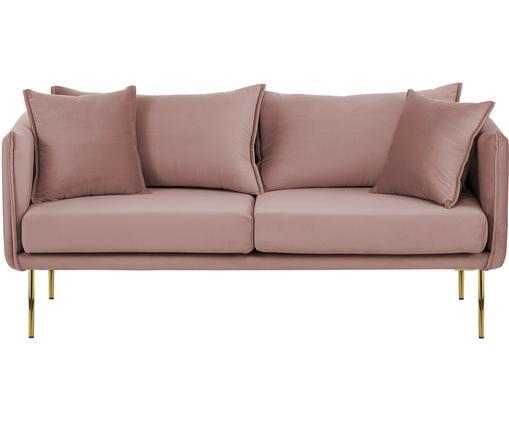 Samt-Sofa Ivy (2-Sitzer), Bezug: Samt (Polyester) 15.000 S, Gestell: Metall, Füße: Metall, pulverbeschichtet, Bezug: RosaBeine: Goldfarben, B 170 x T 75 cm