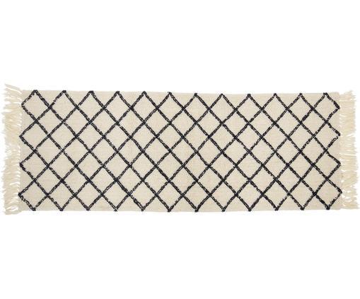 Alfombra de lana Alva, Crema, antracita, An 70 x L 200 cm