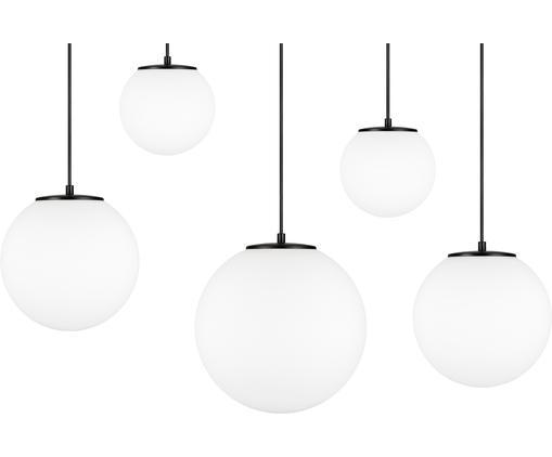 Suspension boule verre opalescent, grande taille Tsuki, Blanc opalescent, noir