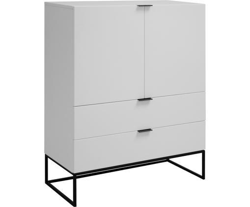 Wit dressoir Kobe met laden, Kast en voorzijde: mat wit. Frame en handvatten: mat zwart, B 100 cm