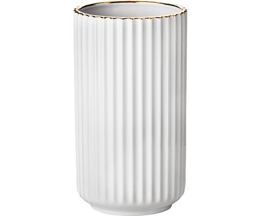 Vase The Lyngby, Vase: Weiß Rand: Goldfarben