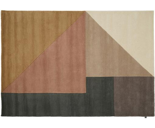 Alfombra artesanal de lana de diseño Arguto, Beige, rosa palo, gris, marrón, An 170 x L 240 cm (Tamaño M)