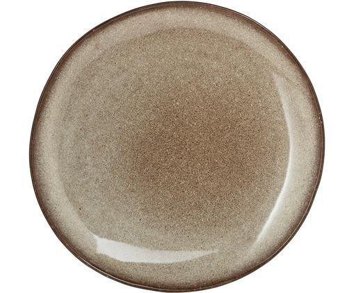 Piatto piano fatto a mano Sandrine, Ceramica, Grigio chiaro, beige, Ø 22 x Alt. 2 cm