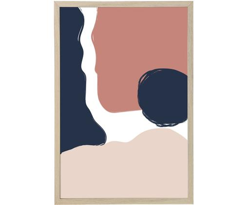 Stampa digitale incorniciata Carnation, Cornice: pannello di fibra a media, Immagine: stampa digitale su carta,, Blu, rosa, Larg. 45 x Alt. 65 cm