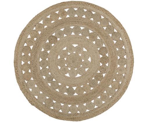 Runder Jute-Teppich Shyam im Boho Style, handgefertigt, Jute, Ø 150 cm (Größe M)