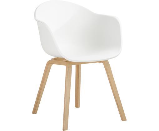 Krzesło z podłokietnikami Claire, Nogi: drewno bukowe, Siedzisko: biały Nogi: drewno bukowe, S 61 x G 58 cm