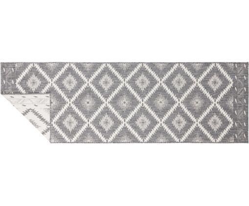 In- und Outdoor-Wendeläufer Malibu im Ethno Style, Grau/Creme, Grau, Creme, 80 x 250 cm