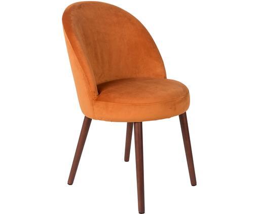 Samt-Polsterstuhl Barbara, Bezug: 100% Polyestersamt, Beine: Buchenholz, lackiert, Samt Orange, B 51 x T 59 cm