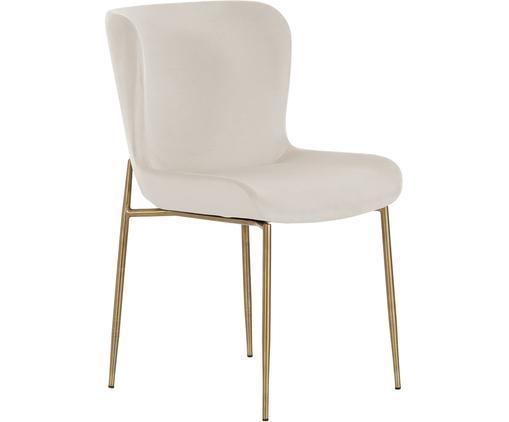 Sedia imbottita in velluto Tess, Rivestimento: velluto (poliestere) 50.0, Gambe: metallo rivestito, Velluto beige, gambe oro, Larg. 48 x Alt. 64 cm