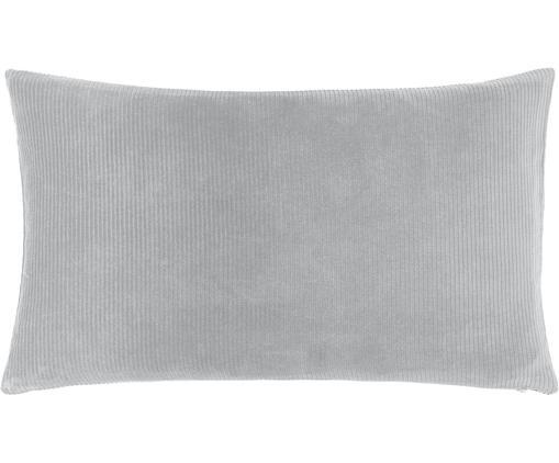 Federa arredo in velluto a coste Mikkel, Cotone, Grigio chiaro, Larg. 30 x Lung. 50 cm