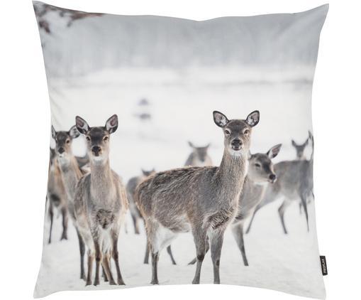 Kissenhülle Silencio mit winterlichem Motiv, Baumwolle, Vorder- und Rückseite: Gebrochenes Weiß, Beige, Grau, 50 x 50 cm