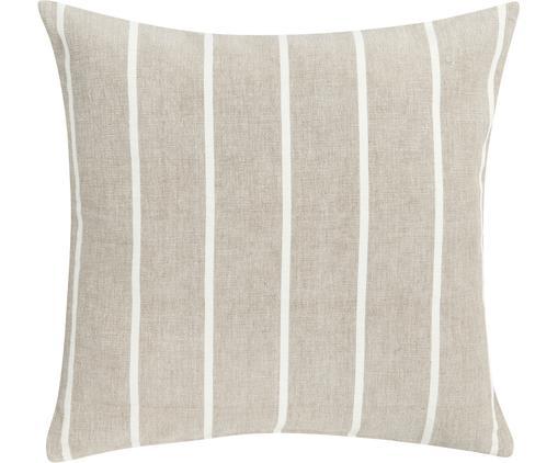 Kissen Even in Beige/Weiß mit Streifen, mit Inlett, Hülle: Baumwolle, Beige, gebrochenes Weiß, 45 x 45 cm
