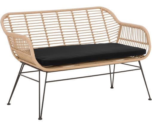 Garten-Sitzbank Costa mit Kunststoff-Geflecht, Sitzfläche: Polyethylen-Geflecht, Gestell: Metall, pulverbeschichtet, Hellbraun, B 126 x T 68 cm