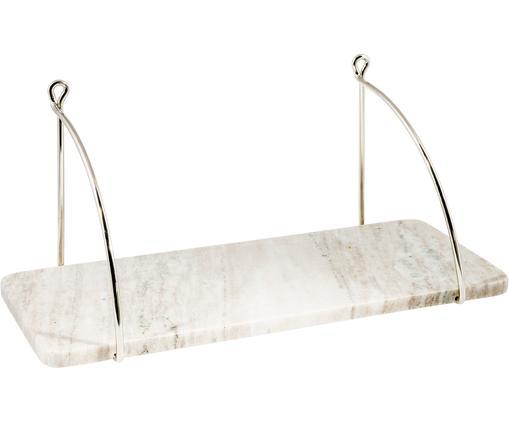 Wandregal Porter mit Steinplatte, Regalbrett: Stein, Halterung: Edelstahl, Beige, Edelstahl, 40 x 18 cm