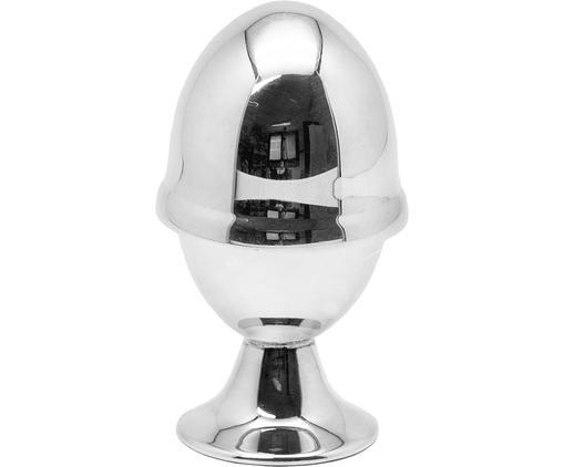 Komplet kieliszka do jajek z pokrywką, 2elem., Mosiądz posrebrzany, Srebrny, Ø 5 x W 10 cm