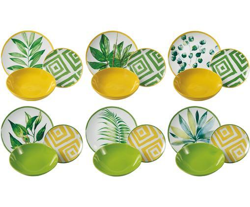 Service de table design tropical Botanique, 6 personnes (18élém.), Vert, blanc, jaune