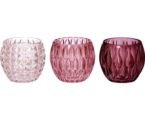 Komplet świeczników Aliza, 3 elem., Szkło, Różowy, transparentny, Ø 10 x W 9 cm