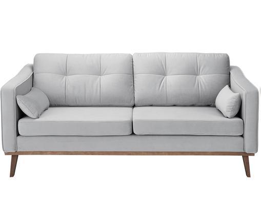 Samt-Sofa Alva (2-Sitzer), Bezug: Samt (Hochwertiger Polyes, Gestell: Massives Kiefernholz, Füße: Massives Buchenholz, gebe, Samt Grau, B 184 x T 92 cm