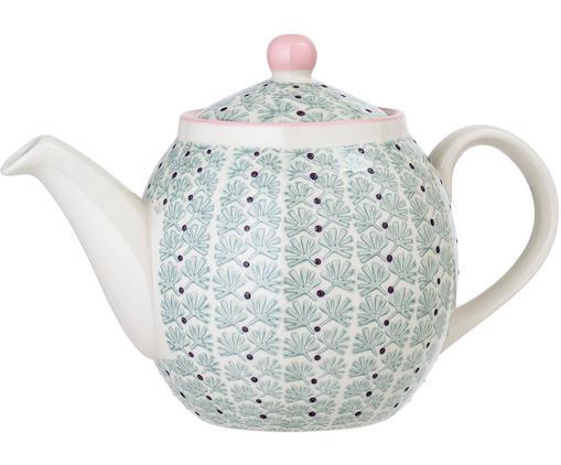 Teekanne Maya, Steingut, Weiß, Grün, Rosa, Lila, 1.2 L