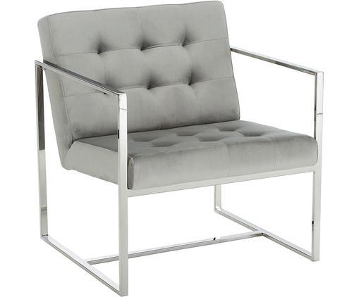 Fauteuil lounge en velours Manhattan, Velours gris