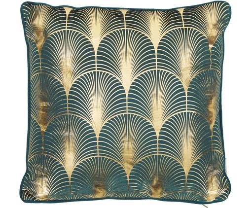 Coussin en velours à imprimé Art Deco brillant Whety, Bleu pétrole, couleur dorée