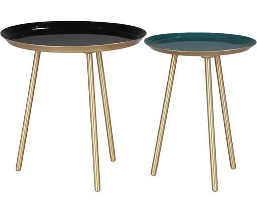 Beistelltisch 2er-Set Carry aus Metall, Füße: Metall, pulverbeschichtet, Tischplatte: Metall, emailliert, Gold, Grün, Schwarz, Ø 40 x H 40 cm