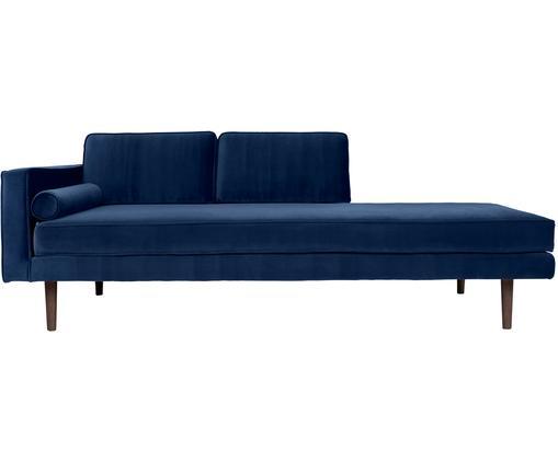 Samt-Ottomane Wind, Bezug: Polyestersamt 45.000 Sche, Füße: Eichenholz, gebeizt, Bezug: Königsblau<br>Füße: Eiche, dunkelbraun, gebeizt, 200 x 74 cm