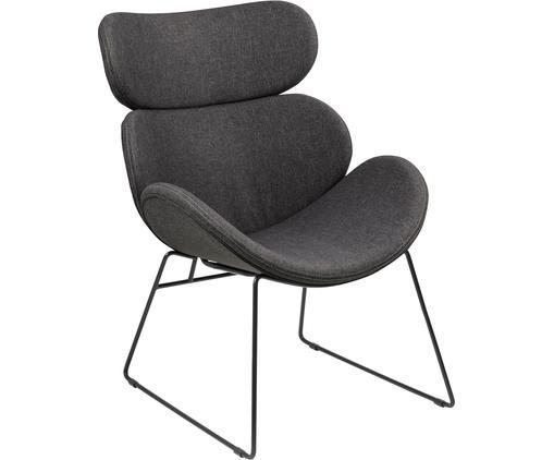 Fauteuil lounge moderne gris foncé Cazar, Tissu gris foncé