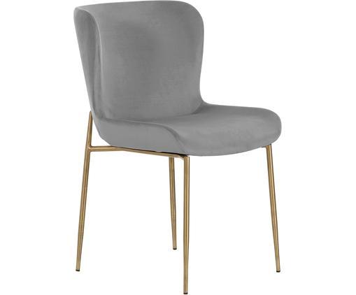 Chaise rembourrée en velours gris Tess, Gris